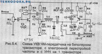 схемы УКВ ЧМ передатчиков на транзисторе с электронной перестройкой частоты