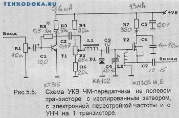 схемы УКВ ЧМ передатчиков на транзисторе перестройкой частоты
