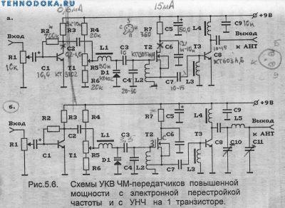 схемы УКВ ЧМ передатчиков повышенной мощьности с электронной перестройкой частоты