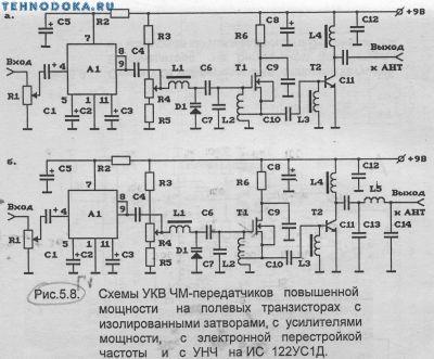 схемы УКВ ЧМ передатчиков повышенной мощности на полевом транзисторе с изолированными затворами, с усилителями мощности