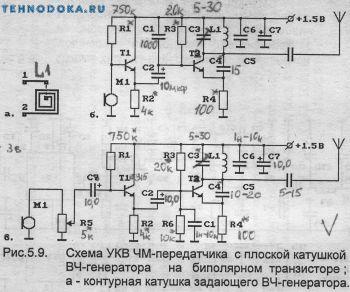 схемы УКВ ЧМ передатчиков с плоской катушкой ВЧ генератора