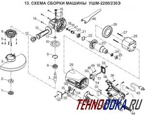ЭНКОР УШМ-2200/230Э деталировка